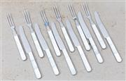 Sale 8866H - Lot 69 - A small mother of pearl handelled fruit cutlery set for six