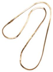 Sale 9090J - Lot 313 - A 14CT GOLD HERRINGBONE CHAIN; with box clasp and safety clip, length 52cm, wt. 7.06g, some minor kinks.