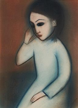 Sale 9141 - Lot 539 - Robert Dickerson (1924 - 2015) Young Girl pastel on paper 40 x 28 cm (frame: 65 x 53 x 3 cm) signed lower right; Provenance: Private...
