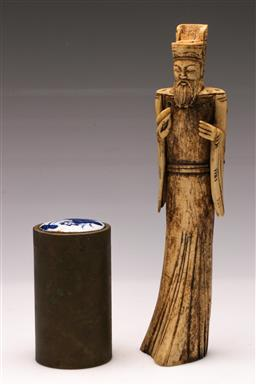 Sale 9119 - Lot 42 - A carved bone figure of A man (H: 27cm) together with A incense container (H:11cm)