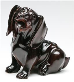 Sale 9190 - Lot 62 - A Chinese wood carving of a dog (H: 15cm)