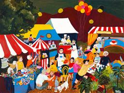 Sale 9216A - Lot 5053 - DENISE PARK Market oil on canvas 76 x 102 cm signed lower right, titled verso