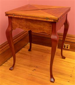 Sale 9260M - Lot 6 - An antique envelope card table in good operational order, H 74 x W 84 x D 84cm (Closed 60cm x 60cm)