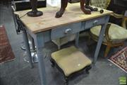 Sale 8323 - Lot 1058 - 2 Drawer Desk w Painted Base