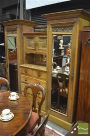 Sale 8359 - Lot 1014 - Australian Art Nouveau Carved Maple Beaconsfield Wardrobe, with central drawers, shelf & two doors, flanked by mirror panel doors