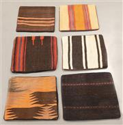 Sale 8445K - Lot 56 - Six Tribal Kilim Cushion Covers , 40x40cm, Unique Afghan kilim cushion. Handmade from vintage kilims, many over 50 years old. Cotton...