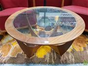 Sale 8585 - Lot 1014 - G-Plan Atmos Circular Coffee Table with Glass Top (D: 84, H: 45cm)