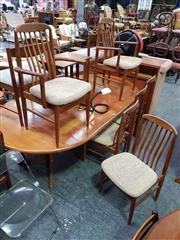 Sale 8661 - Lot 1059 - Good Danish Teak Table with Two Leaves and Set of Six Chairs