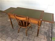 Sale 8649R - Lot 157 - Antique Leather Topped Desk with Dual Side Extentions, Each with a Leather Top (H: 78.5 W: 184.5 Extended D: 69.5cm) with a Chair