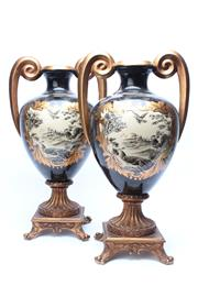 Sale 8719 - Lot 21 - A pair of decorative twin handle urns of scenes depicting roosters and peacocks in a landscape, H x 51cm