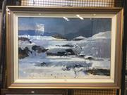 Sale 8751 - Lot 2052 - Artist Unknown - Winter Scene with Cottage, oil on canvas, 80 x 110cm,  signed lower right