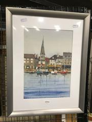 Sale 8776 - Lot 2090 - Kingsleigh Perry - At Honfleur, watercolour, 43 x 33cm (frame size), signed lower