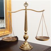 Sale 8868H - Lot 21 - A set of brass gold mining scales, Height 51cm total