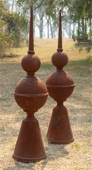 Sale 8871H - Lot 43 - A pair of cast iron finials, height 93cm
