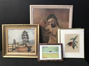 Sale 8953 - Lot 2073 - Assorted Artworks incl. A Vintage Pablo Picasso Decorative Print, together with Botanical chromolithographs and a Country Cottage pa...