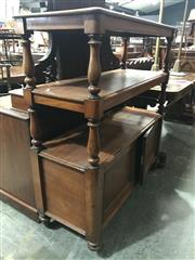 Sale 9014 - Lot 1062 - Victorian Mahogany Dumbwaiter, of three tiers on turned supports, the cabinet section with two panel doors (h:125 x w:115 x d:46cm)