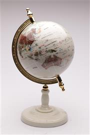 Sale 9064 - Lot 22 - A Gemstone Inlaid World Globe on Stand with Gilt Bracket and Stepped Base (H:43cm)