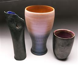 Sale 9098 - Lot 105 - A Set Of three Studio Potted Vases H: of Tallest 39cm