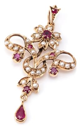 Sale 9124 - Lot 361 - A 9CT GOLD EDWARDIAN STYLE RUBY AND PEARL PENDANT; cluster, ribbon, crescent and leaf design set with round cut rubies and seed pear...