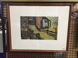 Sale 9118 - Lot 2098 - Artist Unknown (Duncan),  The Barn oil on paper, frame: 48 x 59 cm, signed lower right