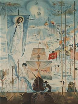 Sale 9161 - Lot 599 - SALVADOR DALI (1904 - 1989) The Discovery of America by Christopher Columbus lithograph, ed. 147/300 76 x 57 cm (frame: 120 x 90 x 6...