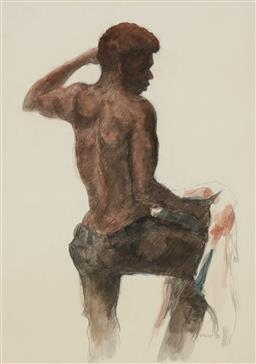 Sale 9180A - Lot 5002 - THOMAS MCAULAY (1946 - ) Portrait of an Aboriginal Man watercolour on paper 39.5 x 27.5 cm (frame: 62 x 50 x 3 cm) signed lower right