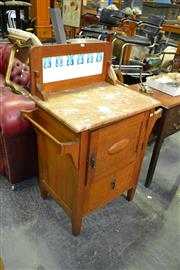 Sale 7987A - Lot 1131 - Marble Top Washstand with Tiled Back