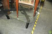 Sale 8338 - Lot 1335 - Modern Glass Top Timber Base Coffee Table