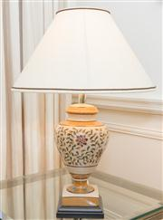 Sale 8402H - Lot 17 - A pair of ceramic table lamps with cream shades. Total height 68cm.