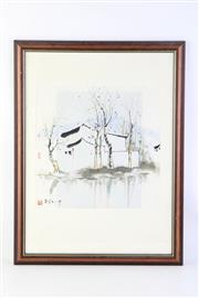 Sale 8815C - Lot 81 - A Framed Chinese Watercolour Signed (Picture Size 32cm x 32cm, Frame size 42cm x 55cm)