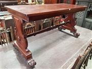 Sale 8956 - Lot 1079 - Victorian Mahogany Side Table, with shaped end supports & turned stretcher (H:71.5 x L:138 x W:63cm)