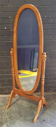 Sale 8971 - Lot 1007 - Pine Cheval Mirror (H:154cm)