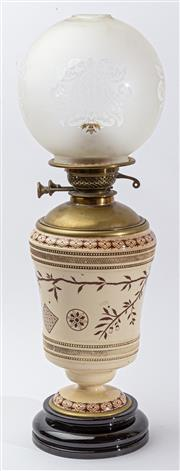 Sale 9083N - Lot 58 - A Victorian urn form kero lamp with foliate decoration on a socle base. 58cm
