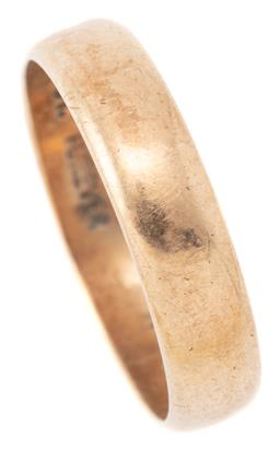 Sale 9140 - Lot 305 - A 9CT GOLD BAND; 5mm wide stamped inside Forever size R 1/2, wt. 3.57g.
