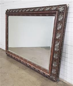 Sale 9162 - Lot 1004 - Large bevelled glass mirror, with acanthus carved & silvered frame, ex. Country Trader (h:220 x w:155cm)