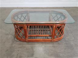 Sale 9183 - Lot 1042 - Bent cane coffee table with a glass top (h:47 w:122 d:65cm)