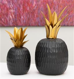 Sale 9248H - Lot 196 - A pair of large and small ceramic pineapples with metal leaves. height30cm