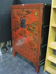 Sale 7932A - Lot 1109 - Red Chinese Shelving Unit with Temple Scenes