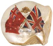 Sale 7978 - Lot 96 - Mother of Pearl Painted Military Shell
