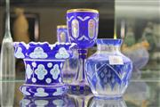 Sale 7989 - Lot 46 - 3 Cut Blue Cased Glass Pieces incl Goblet and Vases
