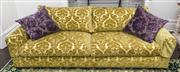 Sale 8298 - Lot 6 - A Chartreuse Designer Sofa upholstered in Elliot Clarke fabric with one matching scatter cushion.