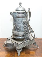 Sale 8338A - Lot 29 - An unusual American Reid & Barton Britannia metal urn on stand with swing handle and drip tray, H 50cm