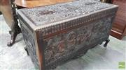 Sale 8375 - Lot 1059 - Heavily Carved Oak Coffer, decorated with coat of arms