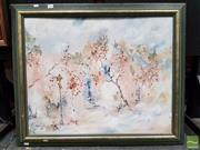 Sale 8474 - Lot 2015 - H.Wood Trees in a Street Oil Painting signed, dated 82 LL