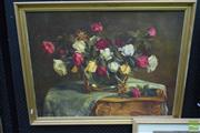 Sale 8497 - Lot 2019 - Artist Unknown, Still Life - Roses, oil on canvas on board, 56 x 75, signed lower left
