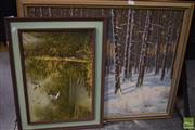 Sale 8541 - Lot 2095 - 2 Works: Ducks Framed Acrylic on Board Unsigned with Forest Framed Acrylic on Board SLR