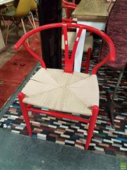 Sale 8550 - Lot 1190 - Set of 6 Red Metal Wishbone Chairs