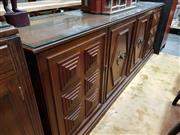 Sale 8740 - Lot 1029 - Timber Fitted Sideboard with Glass Top & Four Drawers