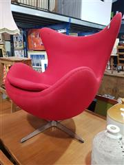 Sale 8863 - Lot 1067 - Modern Fabric Egg Chair in Red