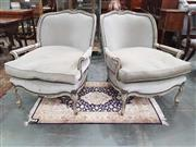 Sale 8917 - Lot 1082 - Pair of Large French Style Armchairs, painted grey and with upholstery to suite, raised on cabriole legs